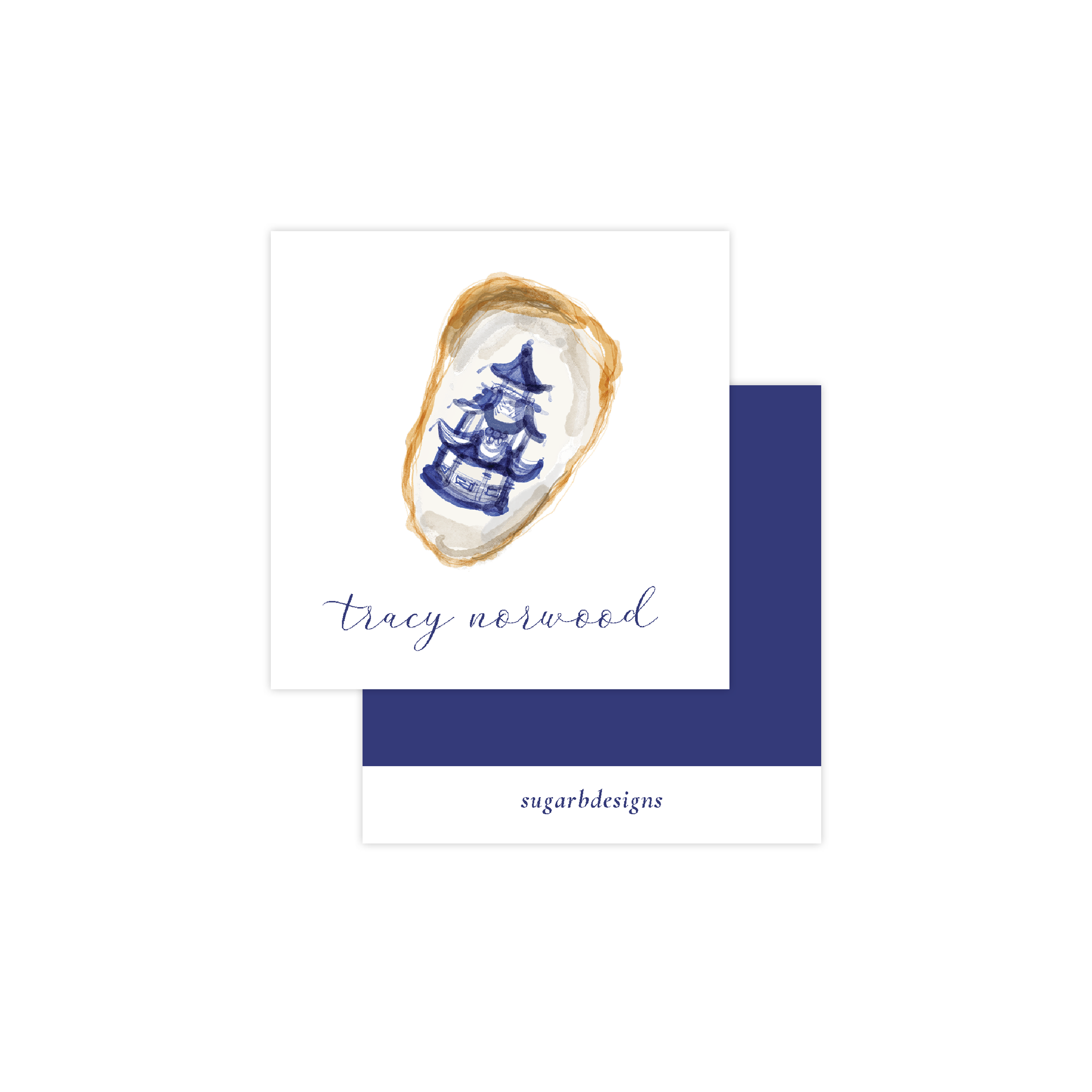 Blue and White Oyster Calling Card