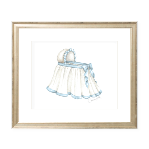 Bombay Bassinet in Blue Landscape Watercolor Print