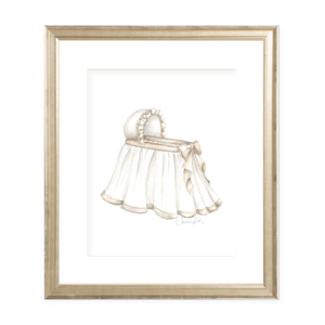Bombay Bassinet in Neutral Portrait Watercolor Print