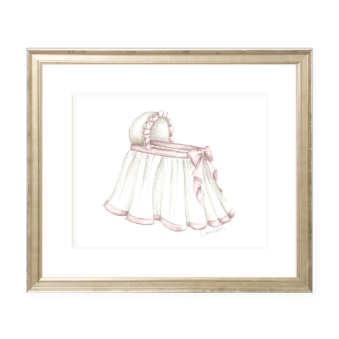 Bombay Bassinet Pink Landscape Watercolor Print