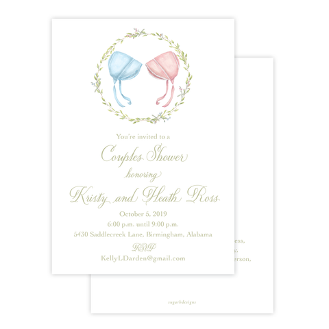 Bailey's Bonnet Pink and Blue Twins Baby Shower Invitation