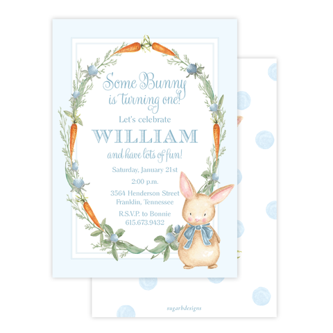 Boo Boo Bunny Blue Birthday Invitation by Sugar B Designs