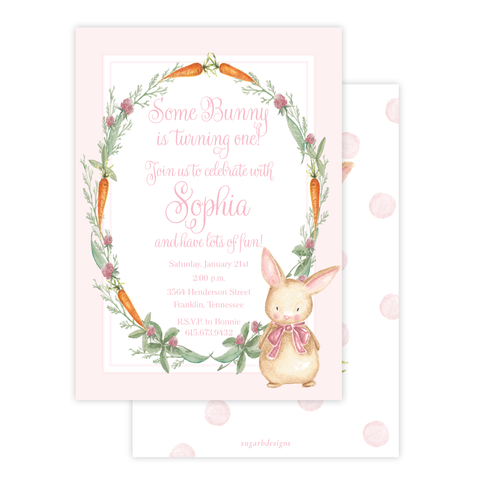 Boo Boo Bunny Pink Birthday Invitation by Sugar B Designs