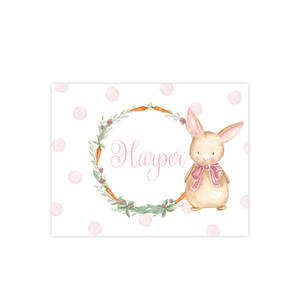 Boo Boo Bunny Pink Polka Fold Over Stationery