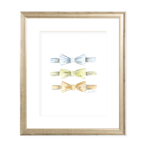 Seersucker Bow Tie Trio Watercolor Print