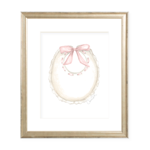 Bridges Bib Pink Watercolor Print
