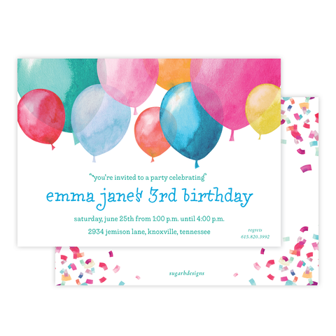Bright Balloons Birthday Invitation