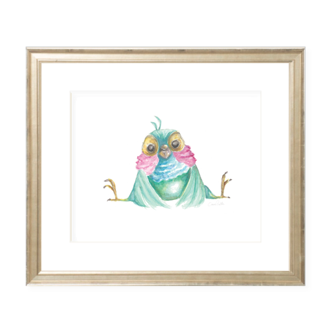 Bubbly Bird Watercolor Print