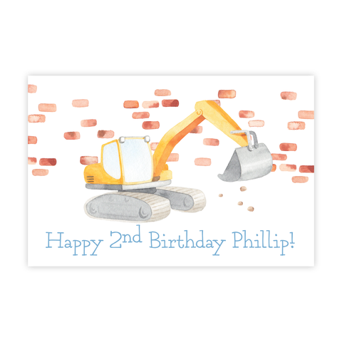 Bulldozer Construction 24x36 Banner