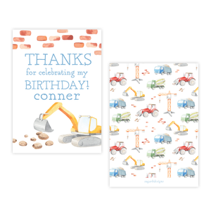Bulldozer Construction 4 Bar Party Favor Gift Tag