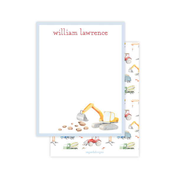 Bulldozer Construction Flat Stationery
