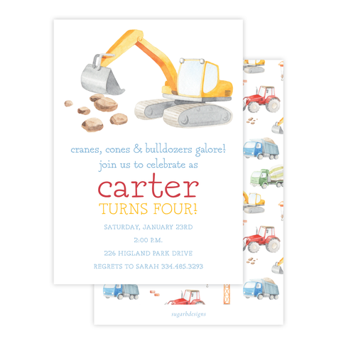Bulldozer Construction Birthday Invitation