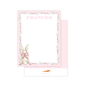 Bunny and Bow Pink Flat Stationery