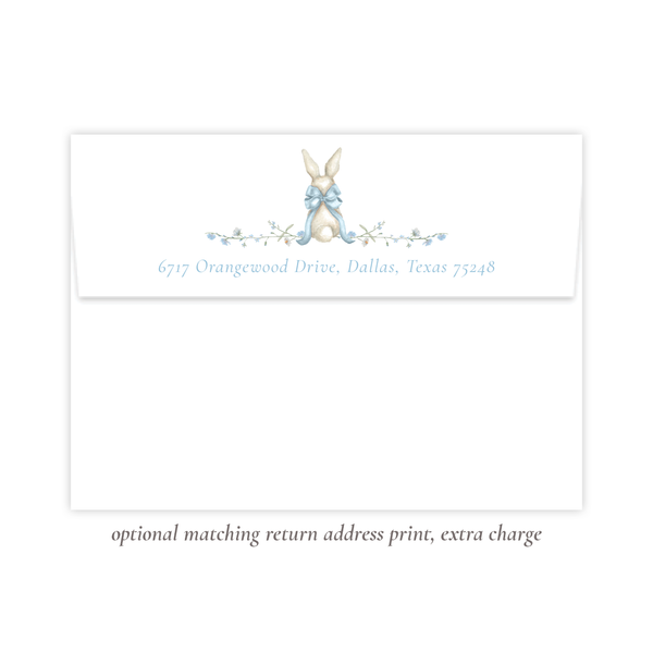 Bunny and Bow Blue Birthday Invitation
