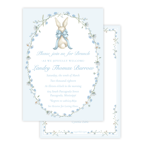 Bunny and Bow in Blue Wreath Baby Shower Invitation