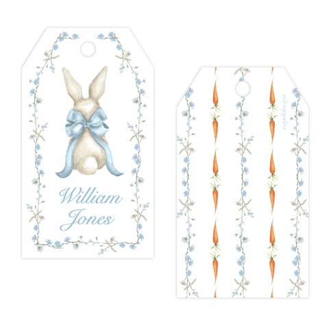 Bunny and Bow Blue Drilled Gift Tag
