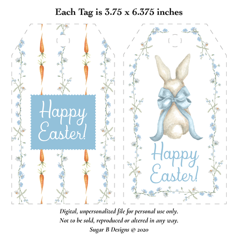 Bunny and Bow Blue Large Easter Basket Printable Tags, Digital File