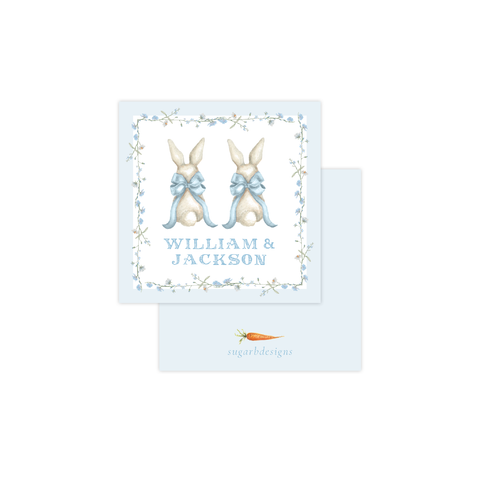 Bunny and Bow Blue Twins Calling Card
