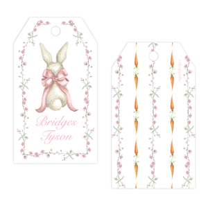 Bunny and Bow Pink Drilled Gift Tag by Sugar B Designs