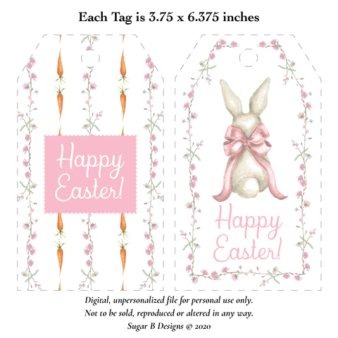Bunny and Bow Pink Large Easter Basket Printable Tags, Digital File