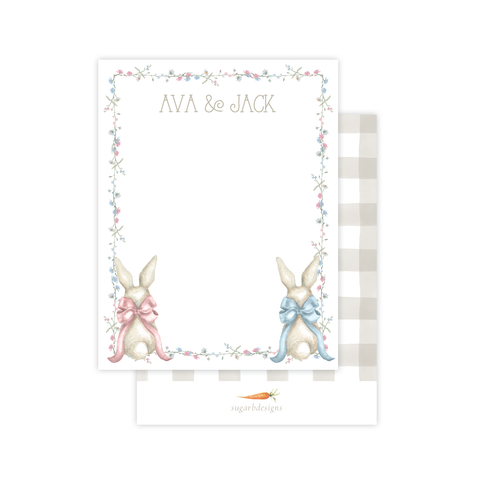 Bunny and Bow Twins Flat Stationery