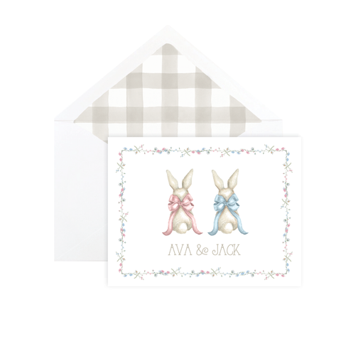 Bunny and Bow Twins Fold Over Stationery