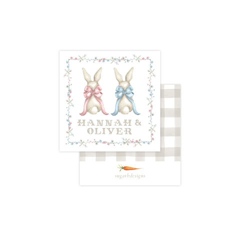Bunny and Bow Twins Calling Card