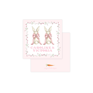 Bunny and Bow Pink Twins Calling Card