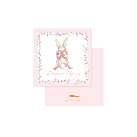 Bunny and Bow Pink Calling Card
