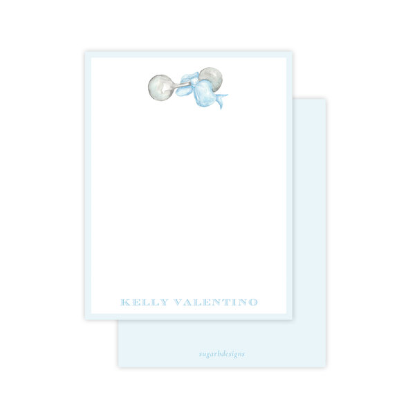 Carlson Rattle blue baby stationery