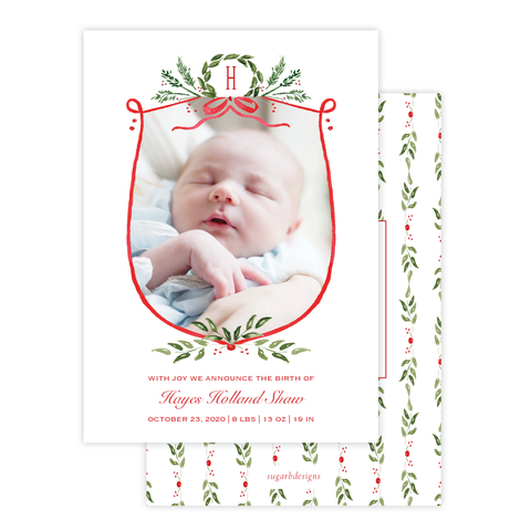 Clayton Wreath Christmas Card Birth Announcement