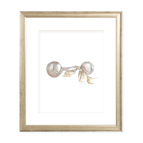 Carlson Rattle with Neutral Sash Portrait Watercolor Print by Sugar B Designs