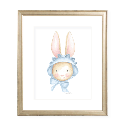 Chamberlain Bunny Blue Bonnet Watercolor Print
