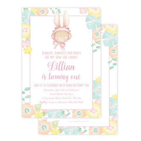 Chamberlain Bunny Birthday Invitation