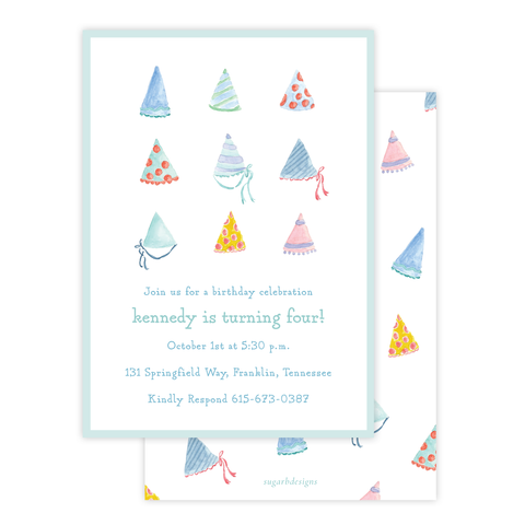Chatham's Party Hats Birthday Invitation