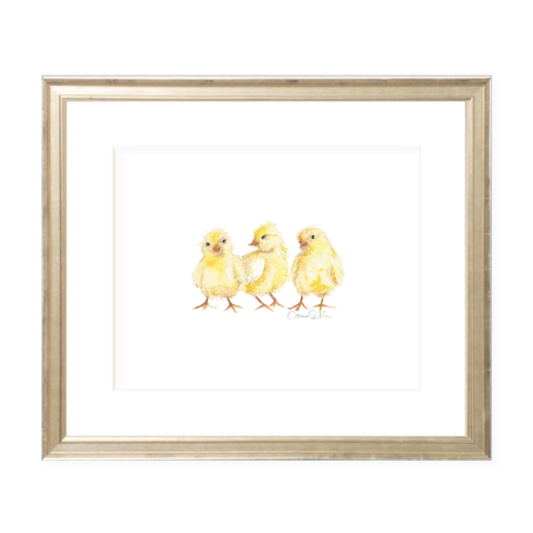 Chicks Landscape Watercolor Print by Sugar B Designs