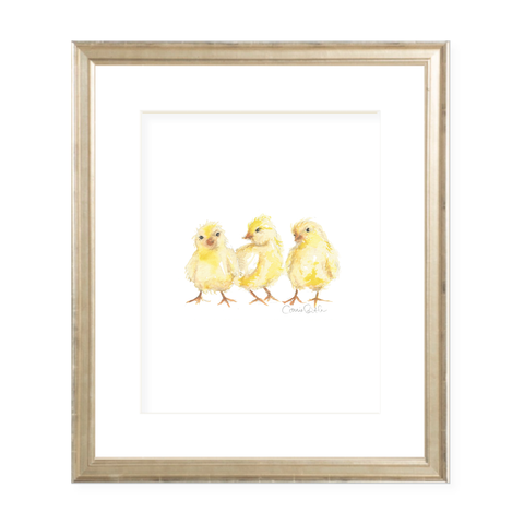 Chicks Portrait Watercolor Print