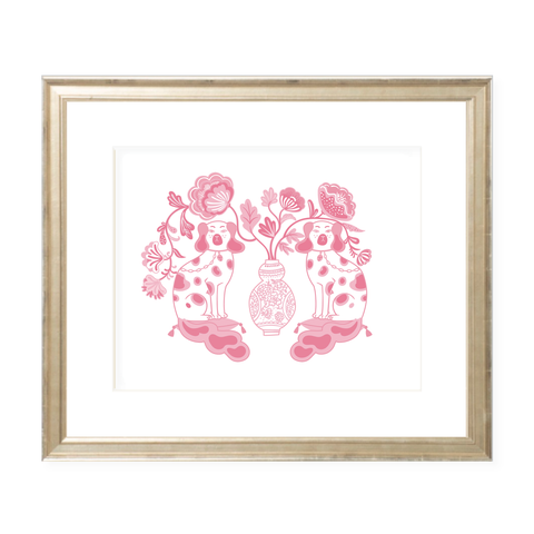 Chin Chin Pups in Pink Landscape Graphic Print