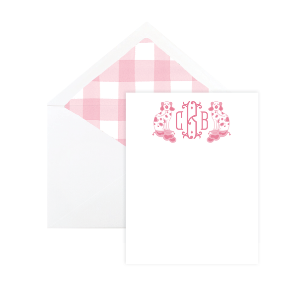 Chin Chin Pups in Pink Flat Stationery