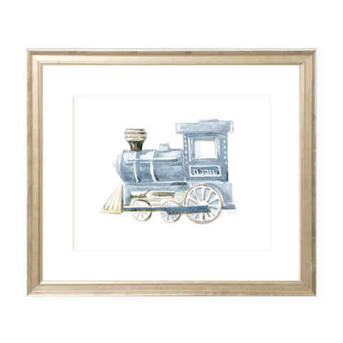 Choo Choo Blue Landscape Watercolor Print