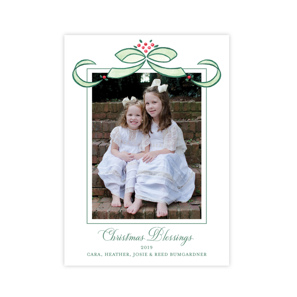 Clarkson Single Bow Portrait Christmas Christmas Card