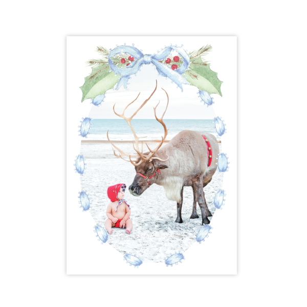 Collins Bow Blue Christmas Card