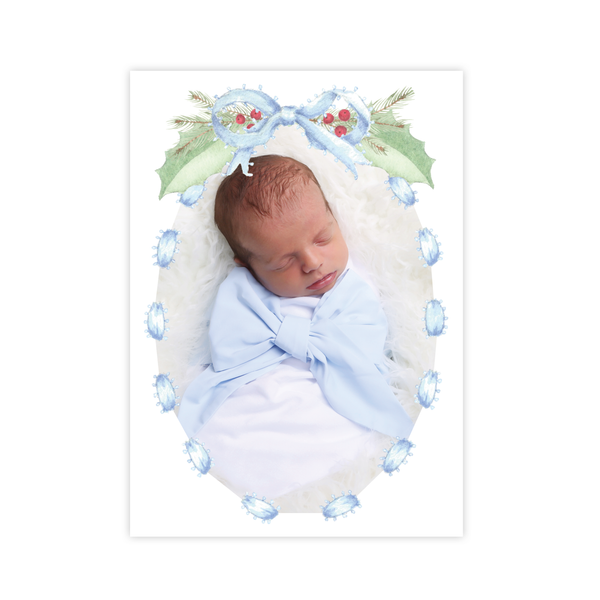 Collins Bow Blue Birth Announcement Christmas Card