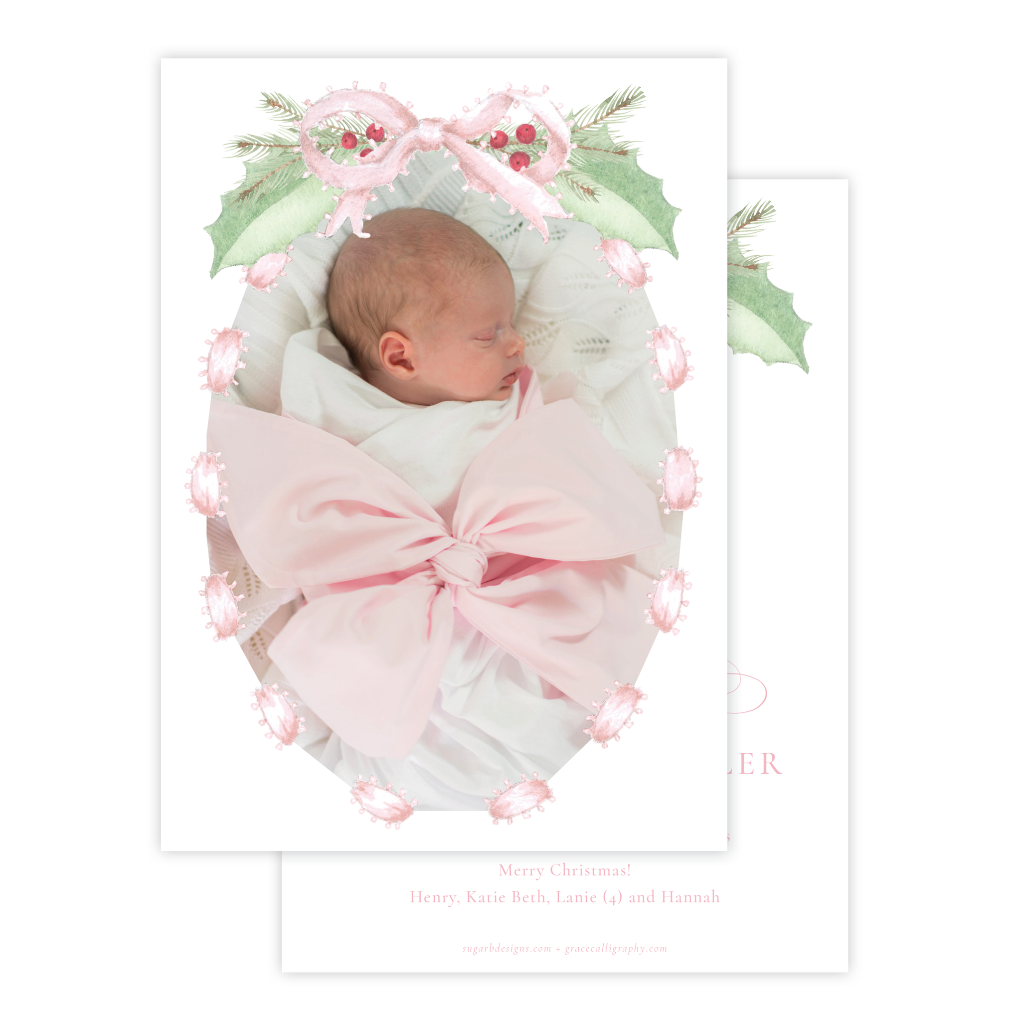 Collins Bow Pink Birth Announcement Christmas Card