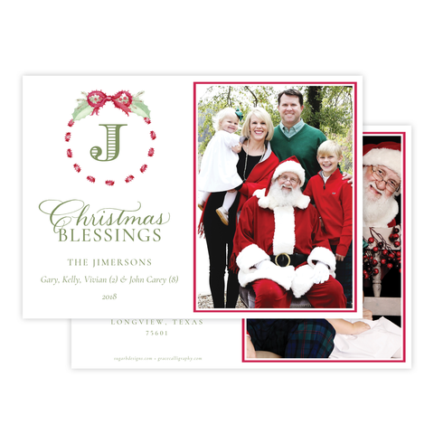Collins Bow Red Change of Address Christmas Card