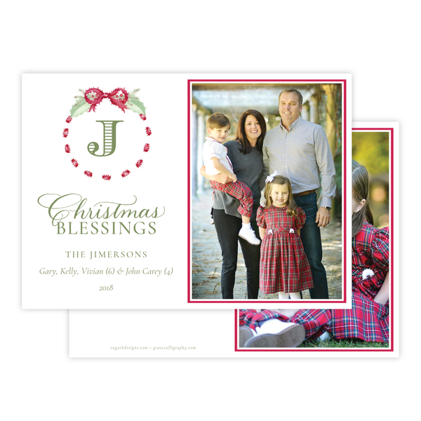 Collins Bow Red Horizontal Christmas Card
