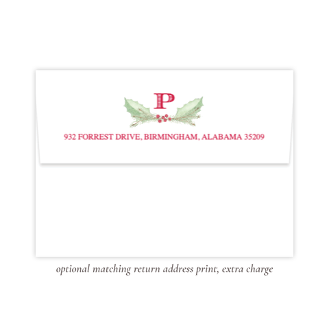 Collins Bow Christmas Return Address Print