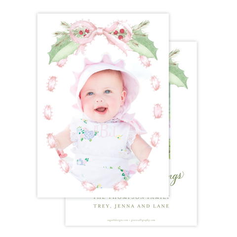 Collins Bow Pink Christmas Card