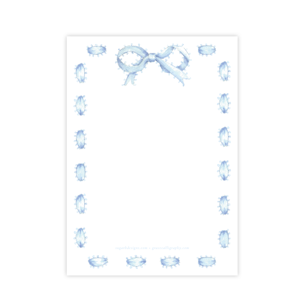 Collins Bow in Blue Baby Shower Invitation