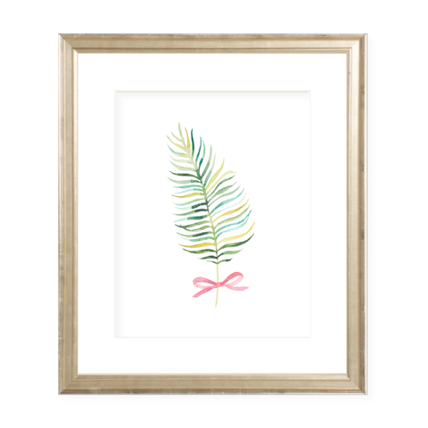Colorful Palm Leaf with Pink Bow Portrait Watercolor Print
